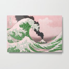 The Great Wave Off Kanagawa Mount Fuji Eruption Metal Print