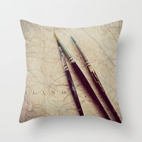 journey Throw Pillows featuring Journey by messy bed studio