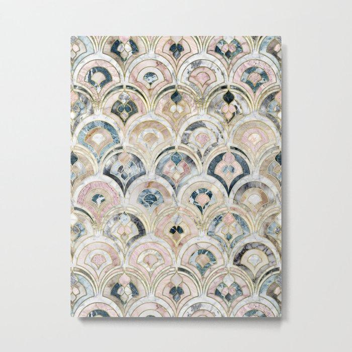 Art Deco Marble Tiles in Soft Pastels Metal Print