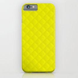 Neon Yellow Puffy Stitch Quilt iPhone Case