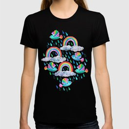 Spring Showers and Rainbow Birds on White T-shirt