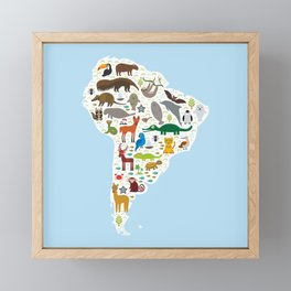 South America sloth anteater toucan lama bat fur seal armadillo boa manatee monkey dolphin Framed Mini Art Print