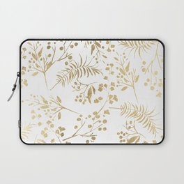 Elegant modern white faux gold floral Laptop Sleeve