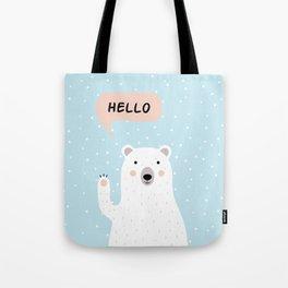 Cute Polar Bear in the Snow says Hello Tote Bag