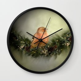 Little Bird in Christmas Wreath Wall Clock