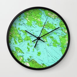 Vintage Map of Lake Winnipesaukee (1956) Wall Clock