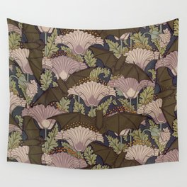 Vintage Art Deco Bat and Flowers Wall Tapestry