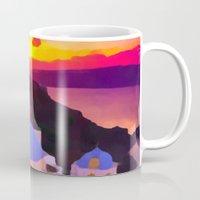 greece Mugs featuring Greece  by Xchange Art Studio