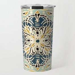 Protea Pattern in Deep Teal, Cream, Sage Green & Yellow Ochre  Travel Mug