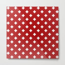 White Swiss Cross Pattern on Red background Metal Print