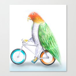 Happy Parrot and his bike Canvas Print