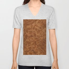 Brown Wood Carved Leafs Pattern Unisex V-Neck