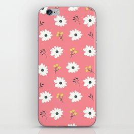 Modern hand painted pink white yellow floral illustration iPhone Skin