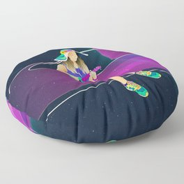 The girl from Saturn by #Bizzartino Floor Pillow