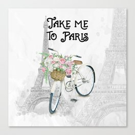 Vintage Bicycle Take Me To Paris Canvas Print