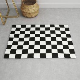pattern checkerboard black white gift idea Rug
