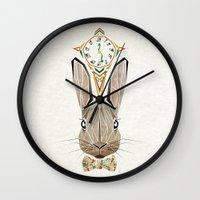 rabbit Wall Clocks featuring rabbit by Manoou