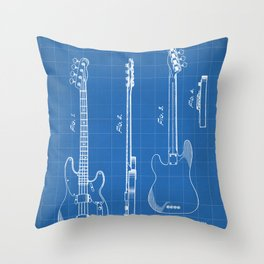 Bass Guitar Patent - Bass Guitarist Art - Blueprint Throw Pillow