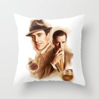 mad men Throw Pillows featuring MAD MEN DON DRAPER by TOXIC RETRO