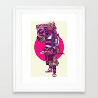 samurai Framed Art Prints featuring Hip-Hop Samurai by Mike Wrobel