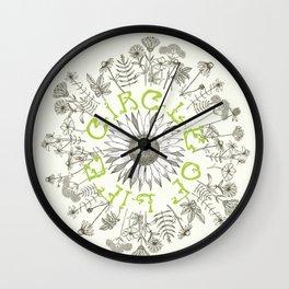 Circle Of Life Mandala With Hand Drawn Flowers Wall Clock