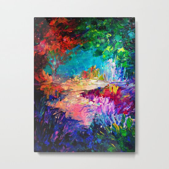 WELCOME TO UTOPIA Bold Rainbow Multicolor Abstract Painting Forest Nature Whimsical Fantasy Fine Art Metal Print