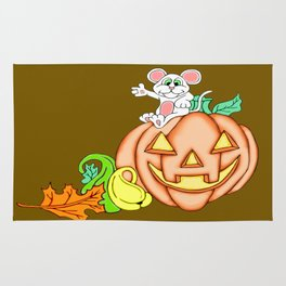 Fall Time Fun Mouse and Pumpkin Rug