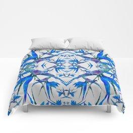 Blue Paradise Fractal Foral Comforters