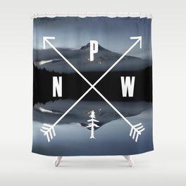 PNW Pacific Northwest Compass - Mt Hood Adventure Shower Curtain