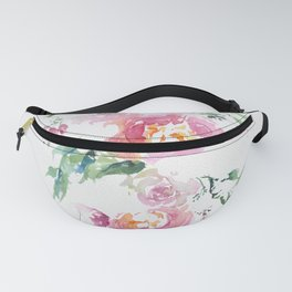 Abstract spring bouquet in bright watercolor Fanny Pack
