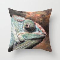 jenny liz rome Throw Pillows featuring Liz by Julie Lemons