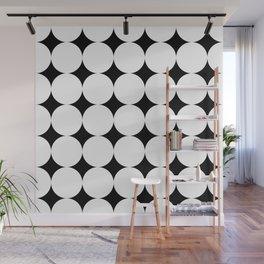 Black stars and white circles Wall Mural