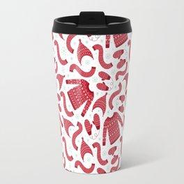 Red white snow flakes Christmas winter fashion pattern Travel Mug