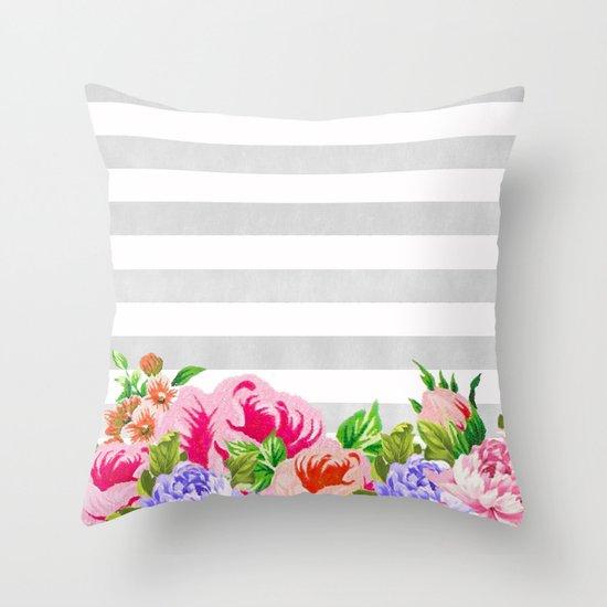 FLORAL GRAY STRIPES Throw Pillow