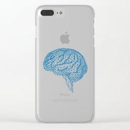 blue human brain Clear iPhone Case
