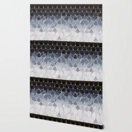 Blue gold hexagonal pattern Wallpaper