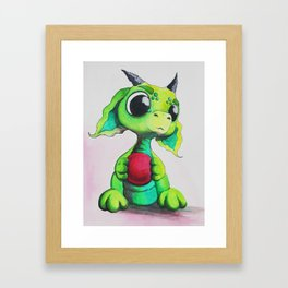 Lime green Bitty Baby Dragon Framed Art Print