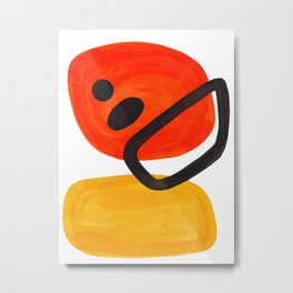 Midcentury Modern Colorful Abstract Pop Art Space Age Fun Bright Orange Yellow Colors Minimalist Metal Print