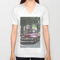 truck V-neck T-shirts featuring Red Truck by Derrick Koch