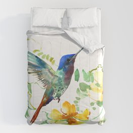 Hummingbird and Flowers, floral design Hawaiian tropical Comforters