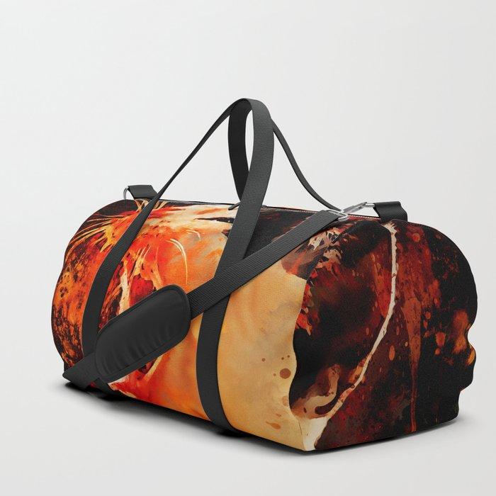 evil cat mouth wide open splatter watercolor Duffle Bag