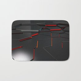 Black fractured surface with red glowing lines Bath Mat