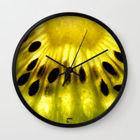 kiwi Wall Clocks featuring Kiwi by Irene Leon
