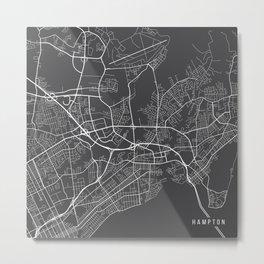 Hampton Map, USA - Gray Metal Print