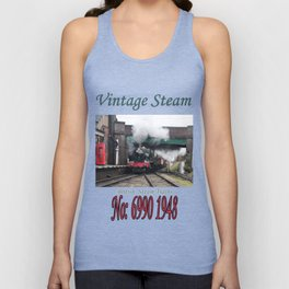 Vintage Steam Railway Train at the Station Unisex Tank Top