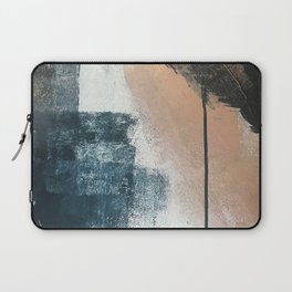 Honey 1: a pretty, minimal abstract in midnight blue, rose gold, and white Laptop Sleeve