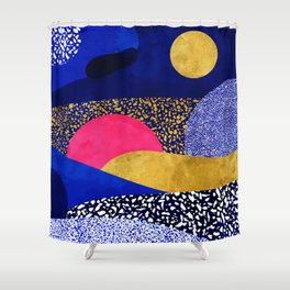Terrazzo galaxy blue night yellow gold pink Shower Curtain