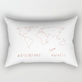 Adventure Map in Rose Gold Rectangular Pillow