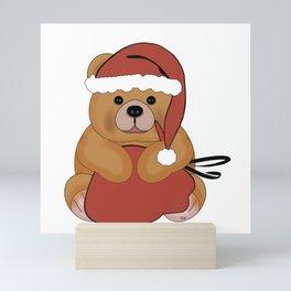 Christmas Brown Teddy Bear with Santa Sack Mini Art Print