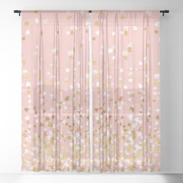 Floating Confetti - Pink II Sheer Curtain